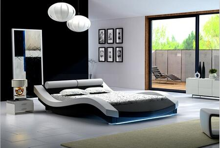 """Ladeso New York Collection SF-847-X-W 94"""" Bed with LED Lights, Low Profile and Leatherette Upholstery in White"""