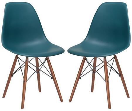 EdgeMod EM105WALTEAX2 Vortex Series Modern Wood Frame Dining Room Chair