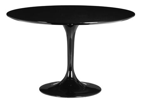 Zuo 10217X Wilco Dining Table with Bevel Edge Round Top and Tulip Fiberglass Base in Glossy Finish