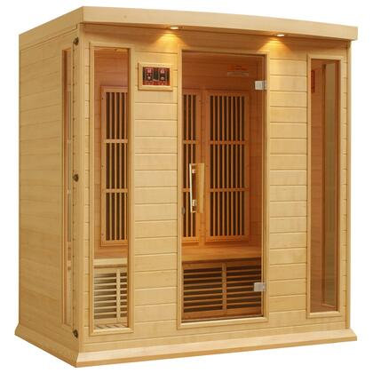"""Maxxus MX-K406-01 75"""" Low EMF Far Infrared Sauna with 4 Person Capacity, 9 Carbon Heating Elements, Chromotherapy Lighting, LED Control Panels, SD Card Slot and USB Connection"""