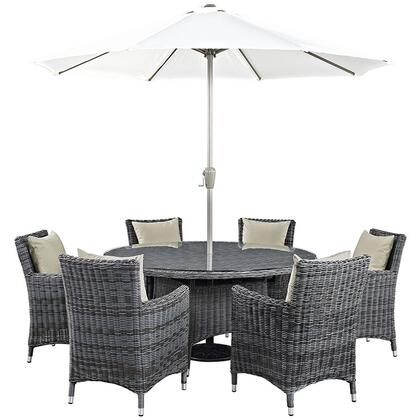Modway Summon Collection EEI-2329-GRY- 8-Piece Outdoor Patio Sunbrella Dining Set with Umbrella & Pole, Round Dining Table and 6 Armchairs in