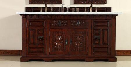 "James Martin Monterey 170V72M 72"" Double Vanity with 2 Shelves, 4 Doors, 1 Drawer, 2 Sinks Included, Marble Top, Antique Iron Hardware, Oak and Birch Construction in Antique Brandy Color"