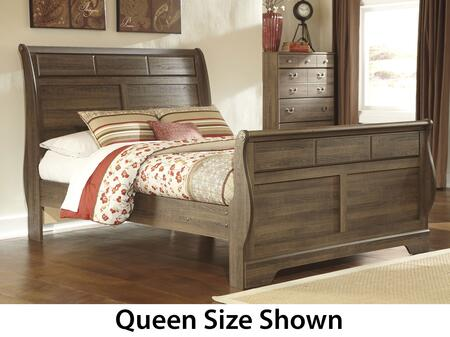 Milo Italia Krueger BR311545278TM Size Sleigh Bed with Vine Decorative Inserts and Replicated Oak Grain in Aged Brown