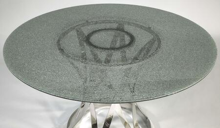 Chintaly JANETDTXXCLR JANET Dining Table with Glass Top and Stainless Steel Base