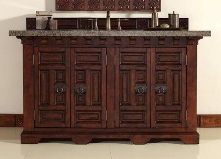 "James Martin Monterey 60"" Double Vanity with 1 Shelf, 4 Doors, 2 Sinks Included, Granite Top, Antique Iron Hardware, Oak and Birch Materials in Antique Brandy Color"