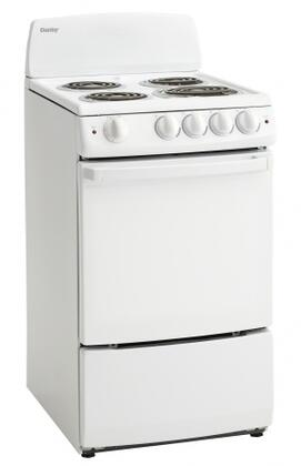 "Danby DER200W 20""  White Electric Freestanding Range with Coil Element Cooktop, 2.4 cu. ft. Primary Oven Capacity,"