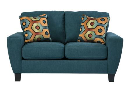 Signature Design by Ashley Sagen 9390X35 Loveseat with 2 Decorative Pillows, Uniquely Shaped Track Arms and Plush Loose Seat Cushions in