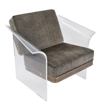 "LumiSource Float CHR-FLOAT 32"" Chair with Mohair Fabric Upholstery, Walnut Wood and Clear Acrylic in"