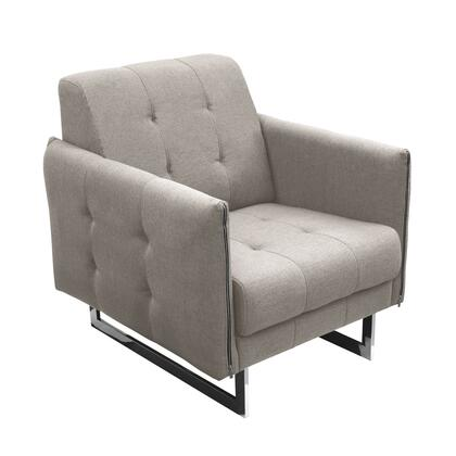"""Diamond Sofa Hampton HAMPTONCH 31"""" Accent Chair with Tufted Seat and Back Cushion, Polyester Upholstery and Chrome Legs in"""