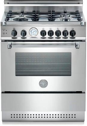 Bertazzoni A304GGVXTLP  Liquid Propane Freestanding Range with Sealed Burner Cooktop, 2.9 cu. ft. Primary Oven Capacity, Storage in Stainless Steel