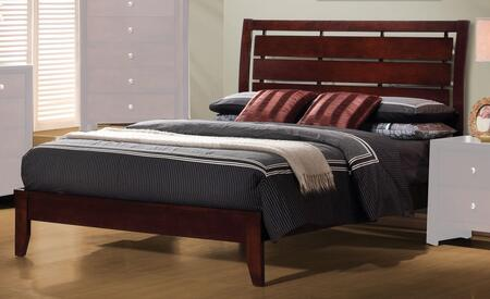 Coaster Serenity Collection Platform Bed with Horizontal Slatted and Cut-Out Headboard Design in Rich Merlot Finish
