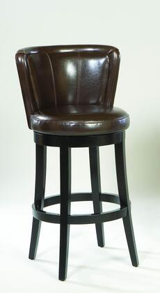 Armen Living LCMBS11SWBABRX Lisbon Swivel Barstool with Espresso Wood Frame and Brown Leather Upholstery