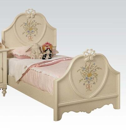 Acme Furniture 02660 Doll House Panel Bed with Decorative Motifs, Pine Wood, MDF and Plywood Construction in Cream