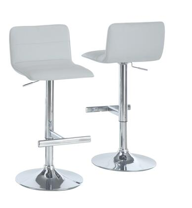Monarch I 236X Set of Two Adjustable Bar Stools, with Hydraulic Lift System, and Chrome Finished Metal Frame, in Faux Leather White