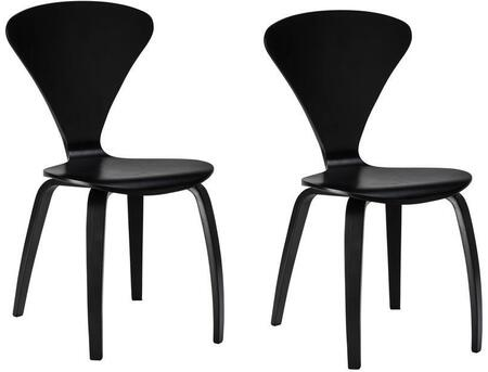 "EdgeMod Sofia Collection 33"" Set of 2 Side Chairs with Mid-Century Design, Plywood Seat and Tapered Legs in"