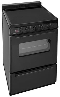 "Premier ECS 24"" Electric Smooth Top Range with Two 8 Inch and Two 6 Inch Elements, 1.5 Inch Porcelain Backguard, Hot Surface Indicator, Interior Oven Light, Storage Drawer:"