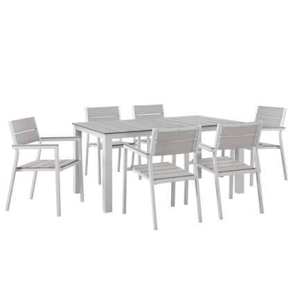 Modway Maine Collection 7 PC Outdoor Patio Dining Set with Solid Plywood Slats, Natural Wood Grain Design, Powder Coated Aluminum Frame and Plastic Base Glides in