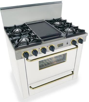 """FiveStar WPN3107SW 36""""  White with Brass Gas Freestanding Range with Open Burner Cooktop, 3.69 cu. ft. Primary Oven Capacity, Broiler"""