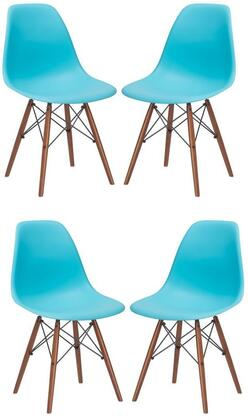 """EdgeMod Vortex Collection 21"""" Set of 4 Side Chairs with Plastic Non-Marking Feet, Walnut Finish Tapered Legs and Polypropylene Plastic Seat"""