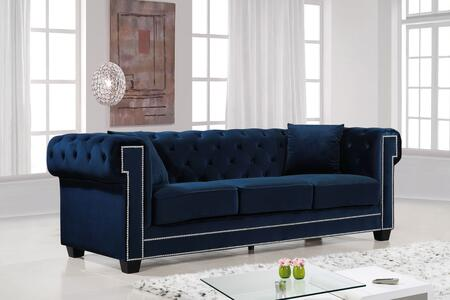 """Meridian Bowery Collection 614X-S 90"""" Sofa with Velvet Upholstery, Chrome Nail Heads, Button Tufting and Contemporary Style in"""
