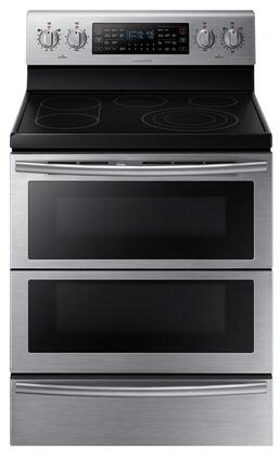 """Samsung NE59J7850W 30"""" Freestanding Electric Range with 5.9 cu. ft. Capacity, Dual Door, 5 Smooth Top Electric Elements, Warming Drawer, Dual Convection Oven and Self Clean Feature in"""