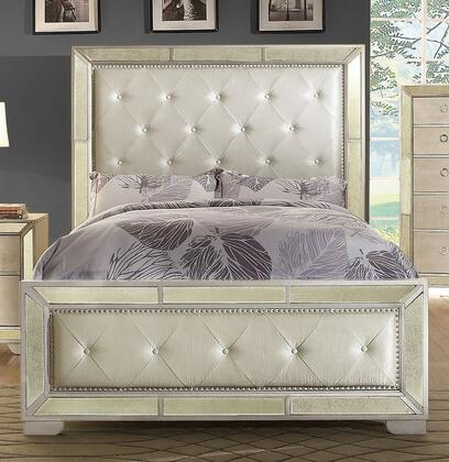 Furniture of America Loraine CM7195X Bed with Antique Mirror Panels, Nail Head Trim, Button Tufted Leatherette Headboard and Footboard in Silver Finish