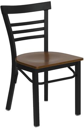 """Flash Furniture HERCULES Series XU-DG6Q6B1LAD-XXW-GG 17.25"""" Heavy Duty Ladder Back Metal Restaurant Chair with Wood Seat, Commercial Design, 18 Gauge Steel Frame, and Plastic Floor Glides"""