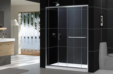 DreamLine DL-6107C Infinity-Z Frameless Sliding Shower Door with Single Threshold Shower Base and QWALL-5 Shower Backwalls Kit