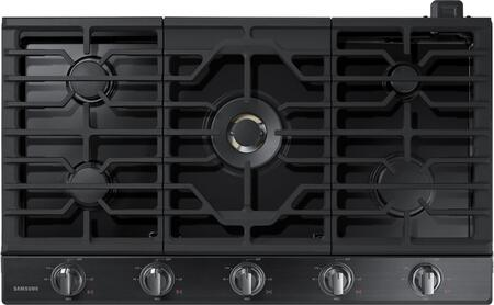 """Samsung NA36K7750T 36"""" Gas Cooktop with 5 Sealed Burners, a Dual Ring Brass Burner, Illuminated Knobs, Griddle, Wok Ring and Wifi, in"""