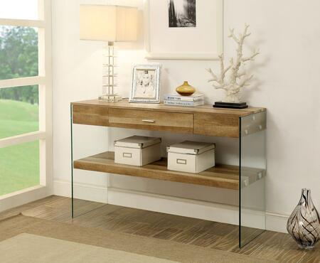 """Furniture of America Raya Collection CM4451XX-S 47"""" Sofa Table with 10mm Tempered Glass Panels, Storage Drawer and Open Shelf in"""
