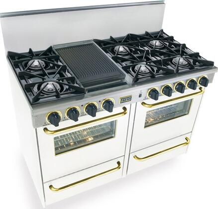 """FiveStar WTN5107SW 48"""" Gas Freestanding Range with Open Burner Cooktop, 2.92 cu. ft. Primary Oven Capacity, Broiler in White with Brass"""
