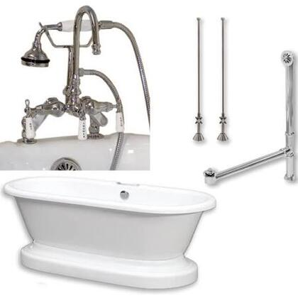 "Cambridge ADEP684DPKGXX7DH Acrylic Double Ended Pedestal Bathtub 70"" x 30"" with 7"" Faucet Drillings and Complete Plumbing Package"