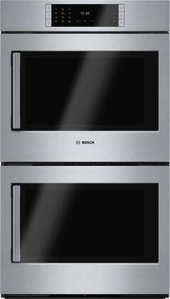 """Bosch Benchmark HBLP651XUC 30"""" Double Wall Oven with 4.6 cu. ft. Capacity Ovens, X SideOpening Door, 14 Cooking Modes, SteelTouch Buttons, Self-Clean, AutoProbe and Star-K Certified, in Stainless Steel"""