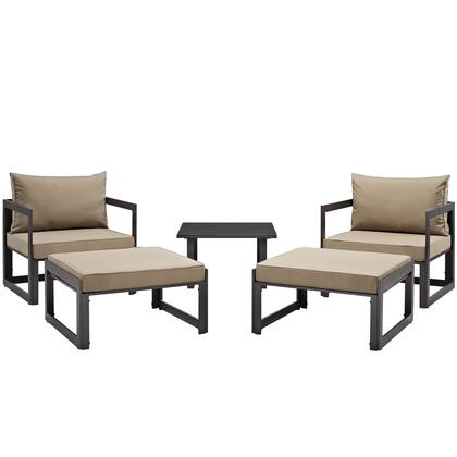 Modway Fortuna Collection EEI-1721- 5-Piece Outdoor Patio Sectional Sofa Set with Side Table, 2 Ottomans and 2 Single Sofas in
