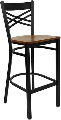"Flash Furniture HERCULES Series XU-6F8BXBK-BAR-X-GG 29"" Black ""X"" Back Metal Restaurant Bar Stool with Commercial Design, 18 Gauge Steel Frame, Foot Rest Rung, and Plastic Floor Glides"