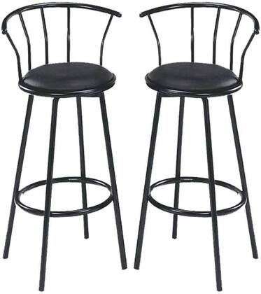 "Acme Furniture Cucina Collection 29"" Set of 2 Bar Chairs with Swivel Seat, Footrest Ring Support, PU Leather Upholstered Seat and Metal Construction in"