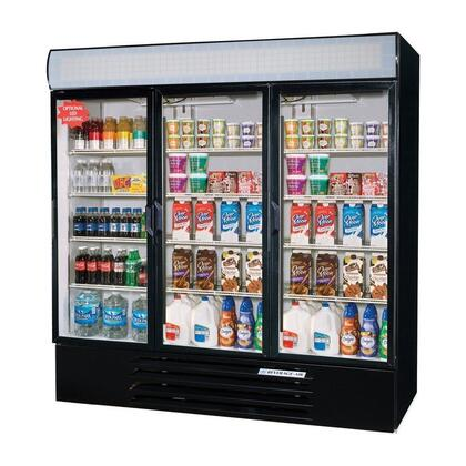 """Beverage-Air LV72Y-1 LumaVue 75"""" Three Section Refrigerated Glass Door Merchandiser with LED Lighting, 72 cu.ft. Capacity, [Color] Exterior and Bottom Mounted Compressor"""
