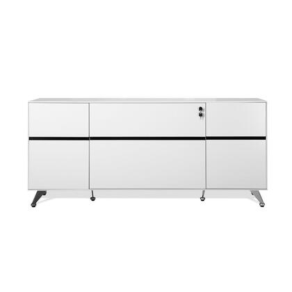 """Unique Furniture 400 Collection 73"""" Storage Credenza with 2 Drawers, 2 Door Cabinets, Adjustable Shelf, Commercial Grade and Medium-Density Fiberboard (MDF) in"""