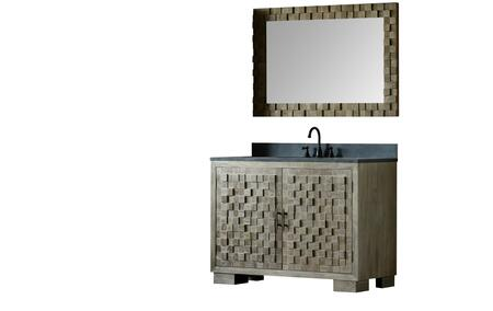 """Legion Furniture WN7648+ 48"""" Solid Elm Sink Vanity with Mirror, Natural Moon Stone Top, Two Doors, Two Drawers and Oil Rubbed Bronze Faucet in Brushed Natural"""
