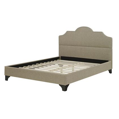 Rest Rite HC8934Ax X Size Upholstered Platform Bed with Traditional Style, Wood Consturtion and Bracket Feet in Linen