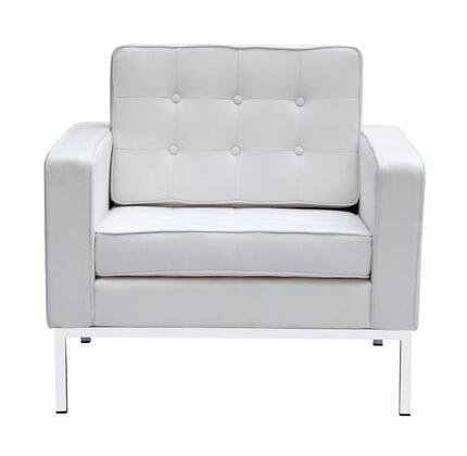 Fine Mod Imports FMI22141WHITE Button Series Wool Armchair with Stainless Steel Frame in White