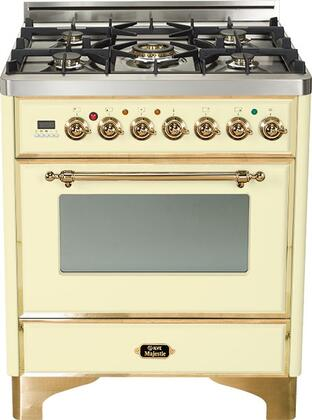"Ilve UM76DVGGS 30"" Majestic Series Freestanding Gas Range with Brass Trim, 5 Burners, Infrared Grill-Baking or Broiler, 3 cu. ft. Oven Capacity, Full Width Storage/Warming Drawer, Digital Clock and Timer, and Flame Failure Safety"