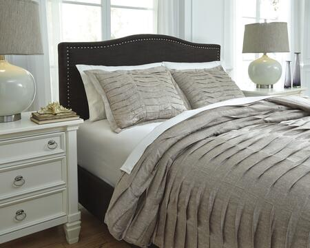 Signature Design by Ashley Voltos Q752003 3 PC Size Duvet Cover Set includes 1 Duvet Cover and 2 Standard Shams with Pleated Construction on Printed Design Count and Cotton Material in Brown Color