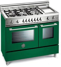 Bertazzoni X486GPIRVELP Professional Series Dual Fuel Freestanding Range with Sealed Burner Cooktop, 2.9 cu. ft. Primary Oven Capacity, in Green