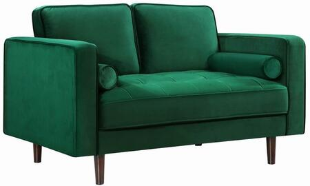 "Meridian Emily collection 625L-X 59"" Loveseat with Velvet, Deep Tufted Cushion and Wooden Legs"
