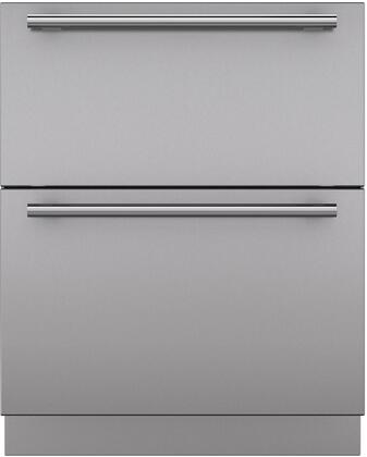 """Sub-Zero 702 Set of 2 Drawer Panels with Handle and Toe Kick for 27"""" Refrigerator Drawers, in Stainless Steel"""