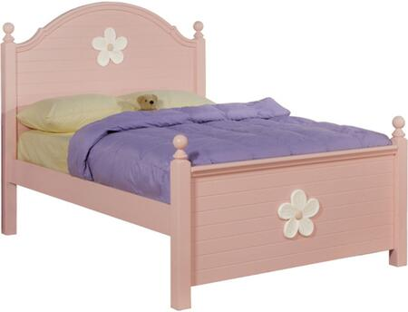 Acme Furniture Floresville 00730 Size Poster Bed with Decorative White Floral Hardware, Turned Finials, Hardwood Solids and Veneers in Pink Finish