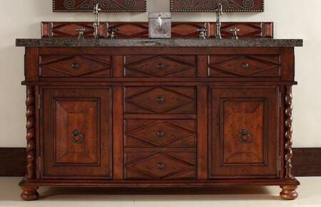 """James Martin Continental 60"""" Double Vanity with 2 Doors, 5 Drawers, 2 Sinks Included, Granite Top, Antique Brass Hardware, Cherry and Birch Materials in Burnished Cherry Finish"""