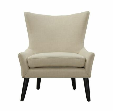 TOV Furniture Sullivan TOVA4 Linen Chair with Conocal Beechwood Legs, Kiln Dried Wood and Castor Front Legs in