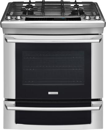 "Electrolux EI30DS55JS 30"" IQ-Touch Series Slide-in Dual Fuel Range with Sealed Burner Cooktop Warming 4.2 cu. ft. Primary Oven Capacity"